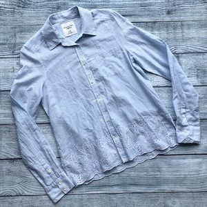 American Eagle XS Striped Button Down with Lace